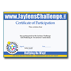 Jaylens Challenge Certificate of Acheivement